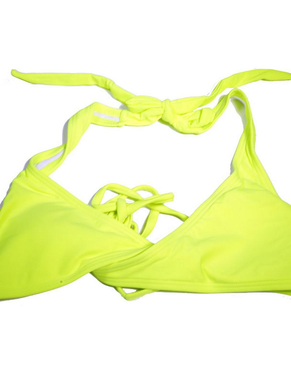The Wrap Halter Top - Neon Yellow