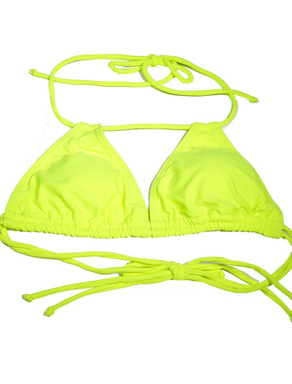 The Double Slide Tri Top - Neon Yellow