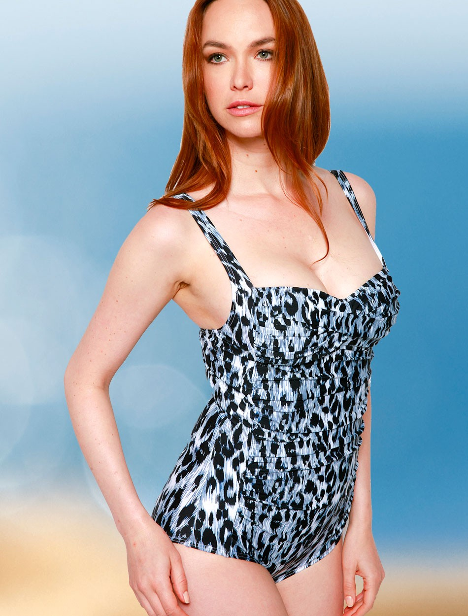 The Shirred One Piece - Blue Leopard