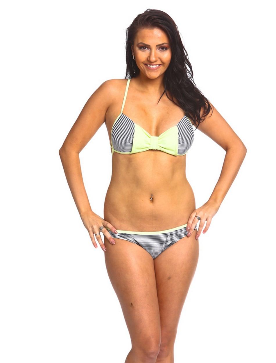 The Push Up Bow Bikini Set - Lime Sherbert Stripes