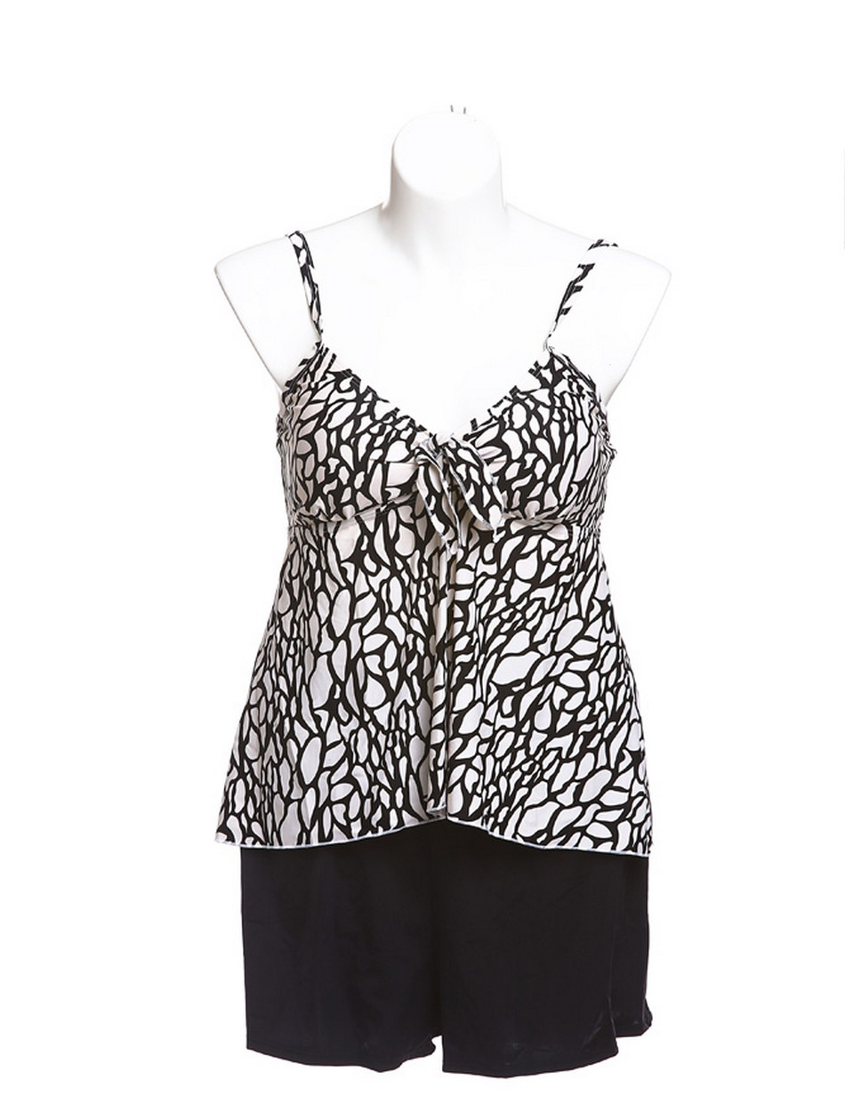 The Swing Tankini Top - Black And White Animal