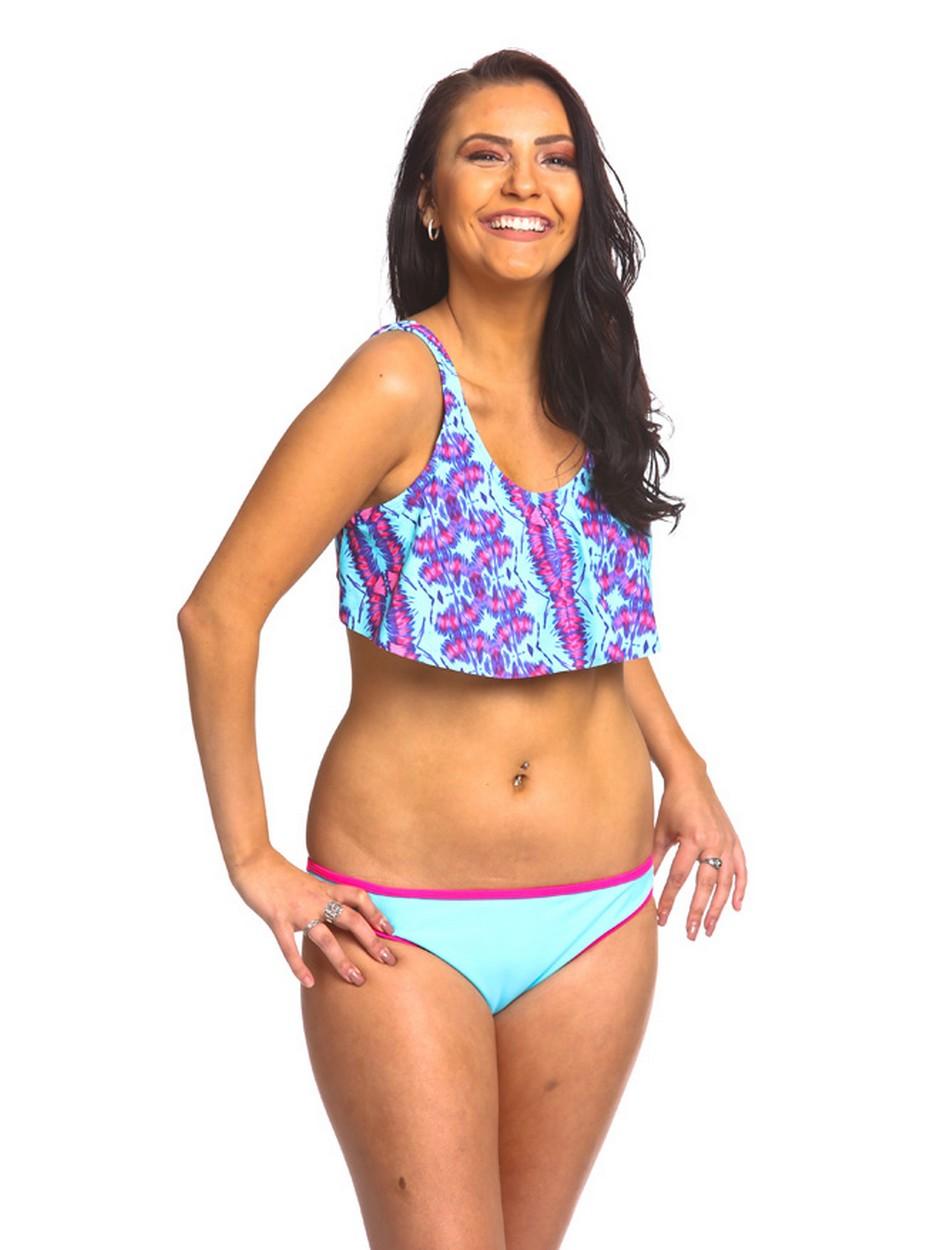 The Hanky Top Bikini Set - Turquoise/Fuchsia Tie Dye