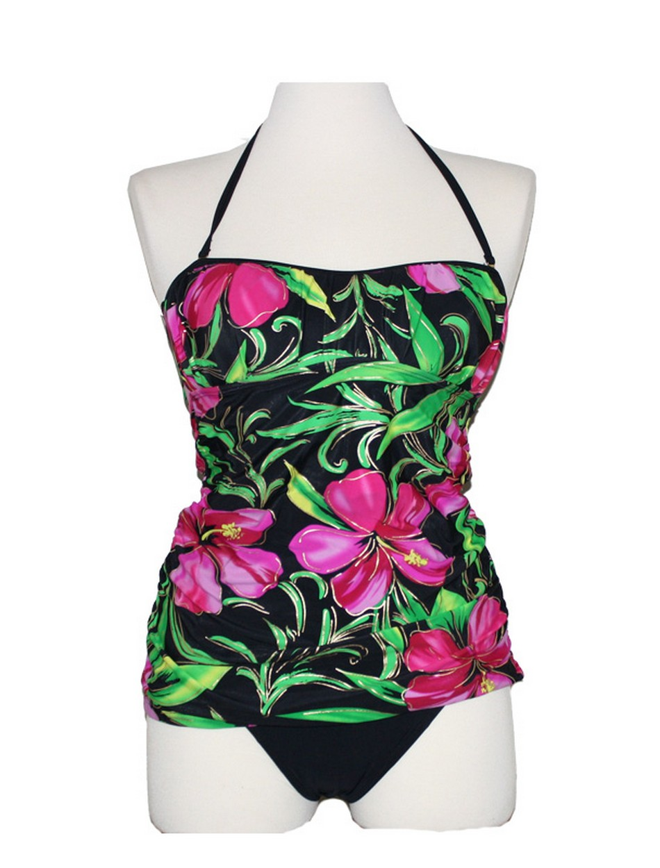 The Shirred Bandeau Tankini Set - Painted Blossom
