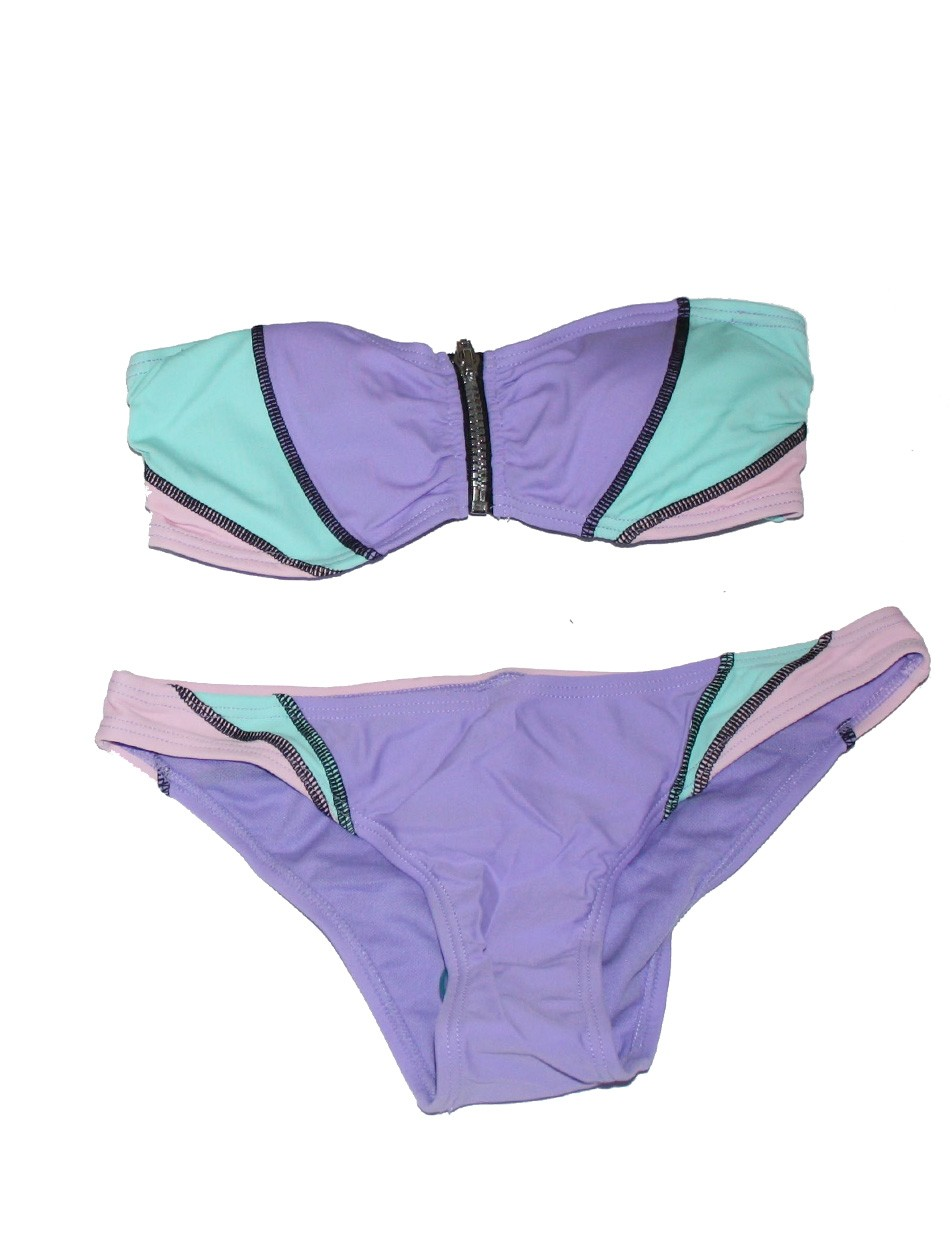 The Zipper Bikini Set - Lilac & Pink